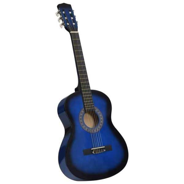 Chitară clasică pentru începători, cu husă, albastru, 3/4 36″