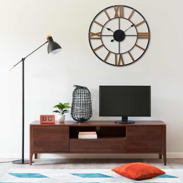vidaXL Ceas de perete, auriu și negru, 80 cm, metal
