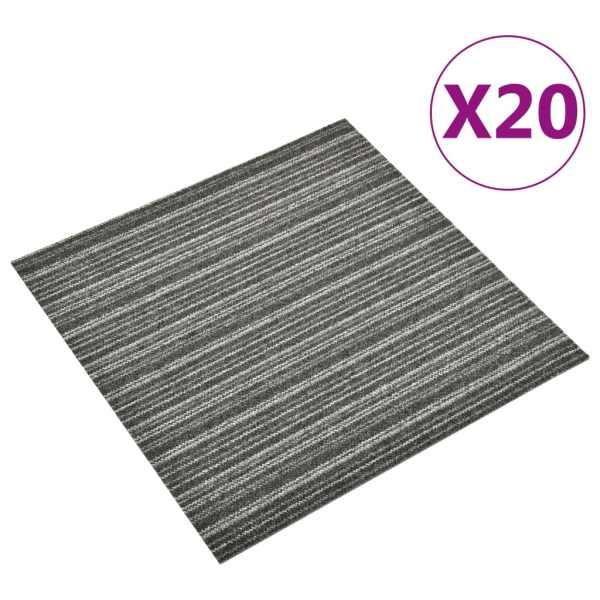 vidaXL Plăci de pardoseală, 20 buc., antracit cu dungi, 50×50 cm, 5 m²