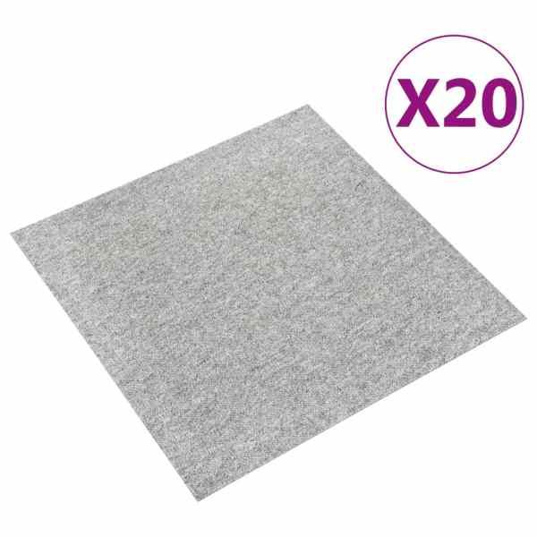 vidaXL Plăci de pardoseală, 20 buc., gri deschis, 50 x 50 cm, 5 m²