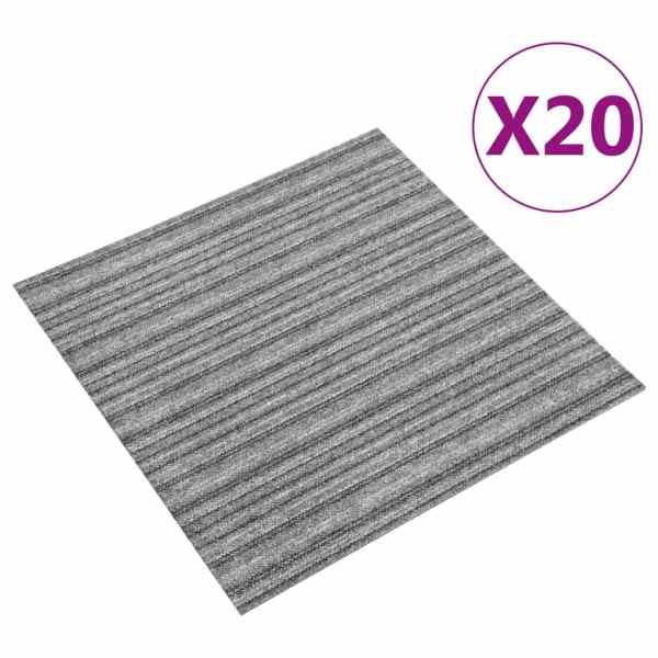 vidaXL Plăci de pardoseală, 20 buc., gri cu dungi, 50 x 50 cm, 5 m²