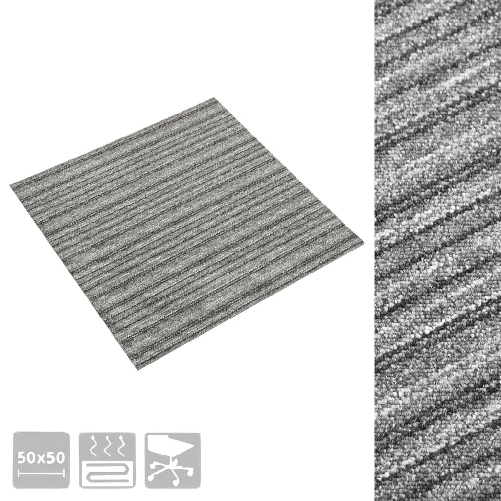 Plăci de pardoseală, 20 buc., gri cu dungi, 50 x 50 cm, 5 m²