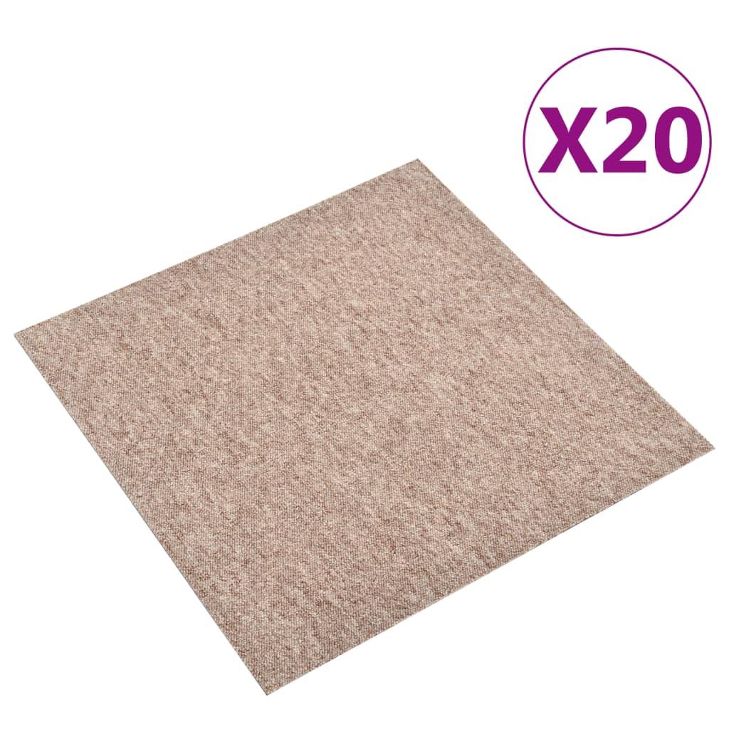vidaXL Plăci de pardoseală, 20 buc., bej, 50 x 50 cm, 5 m²