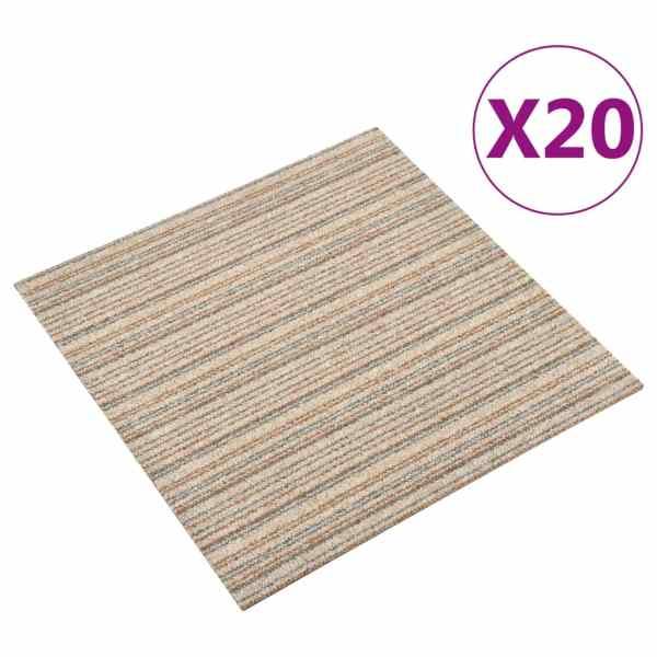 vidaXL Plăci de pardoseală, 20 buc., bej cu dungi, 50 x 50 cm, 5 m²