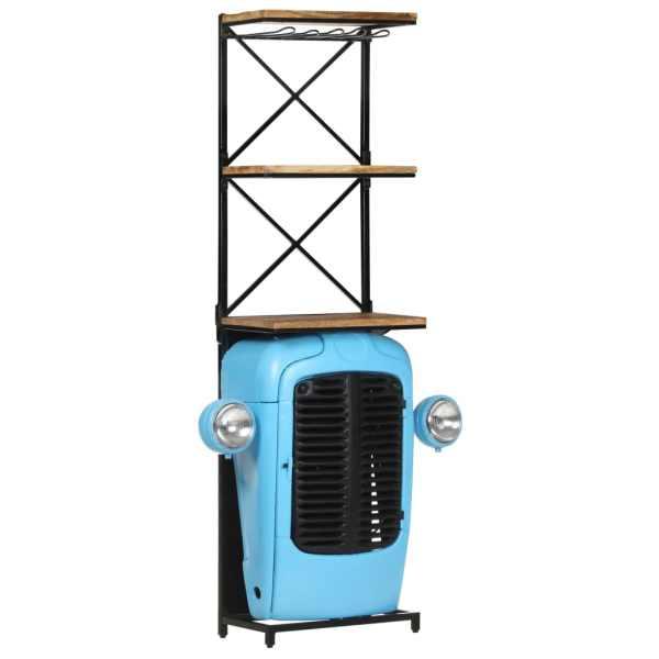 vidaXL Dulap vin tractor, albastru, 49x31x170 cm, lemn masiv mango