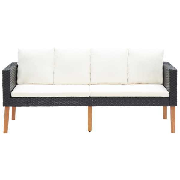 vidaXL Canapea de grădină cu 2 locuri, cu perne, negru, poliratan