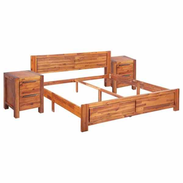Cadru de pat cu 2 noptiere, 160 x 200 cm, lemn masiv de acacia