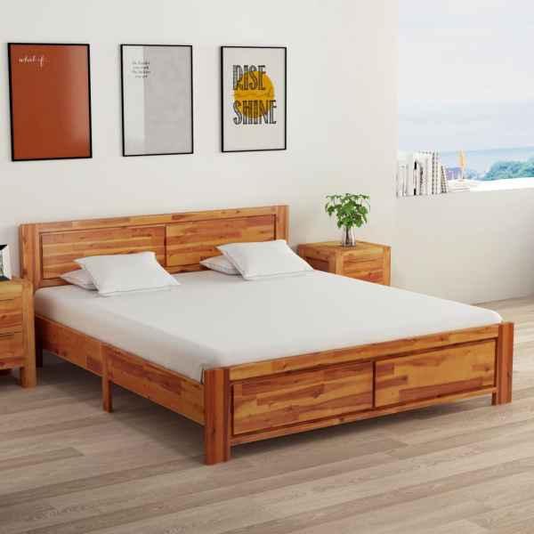 vidaXL Cadru de pat cu 2 noptiere, 160 x 200 cm, lemn masiv de acacia