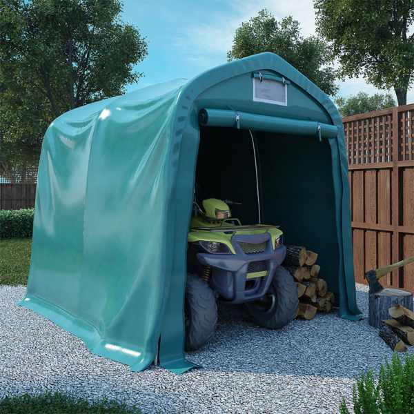 vidaXL Cort de garaj, verde, 2,4 x 2,4 m, PVC