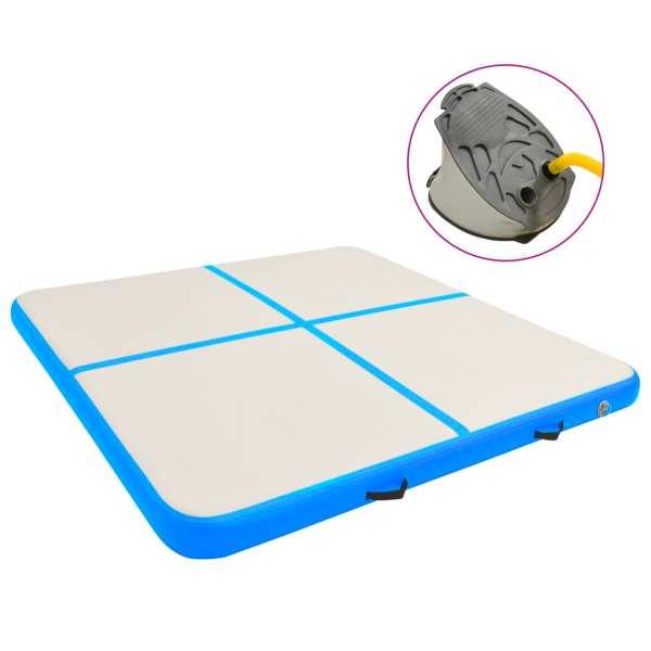 vidaXL Saltea gimnastică gonflabilă cu pompă albastru 200x200x10cm PVC