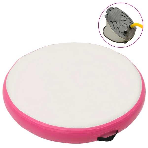 vidaXL Saltea de gimnastică gonflabilă cu pompă roz 100x100x15 cm PVC