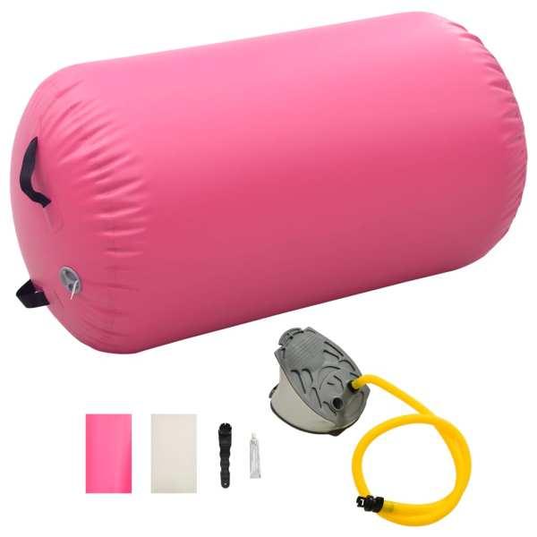 vidaXL Rulou de gimnastică gonflabil cu pompă, roz, 100 x 60 cm, PVC