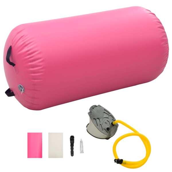 vidaXL Rulou de gimnastică gonflabil cu pompă, roz, 120 x 90 cm, PVC