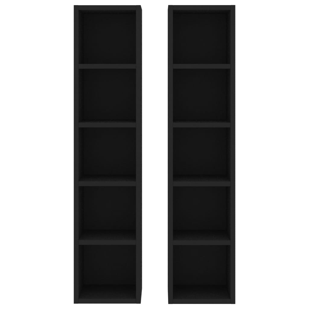 Dulapuri CD-uri, 2 buc., negru, 21 x 16 x 93,5 cm, PAL