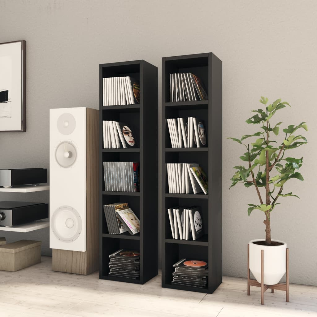 vidaXL Dulapuri CD-uri, 2 buc., negru, 21 x 16 x 93,5 cm, PAL