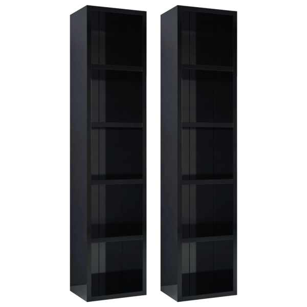 Dulapuri CD-uri 2 buc. negru extralucios 21 x 16 x 93,5 cm PAL