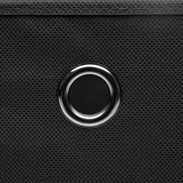 Cutii de depozitare cu capac, 10 buc., negru, 28x28x28 cm