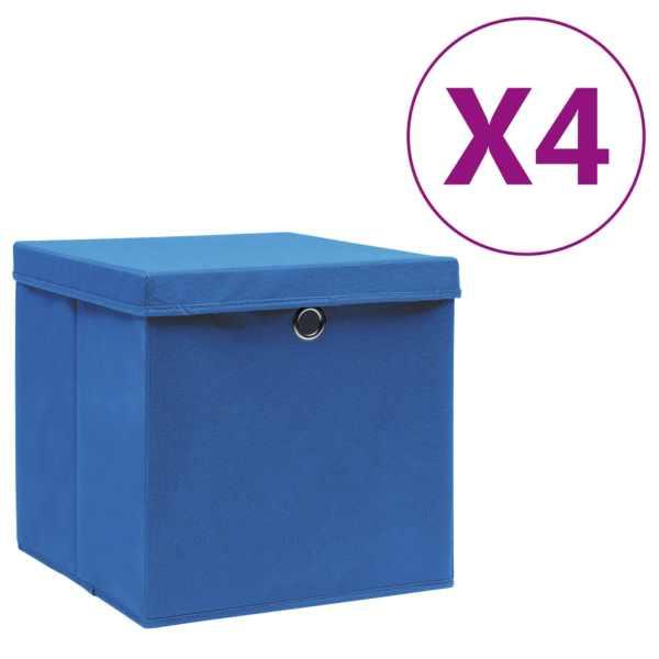 vidaXL Cutii depozitare cu capac, 4 buc., albastru, 28x28x28 cm