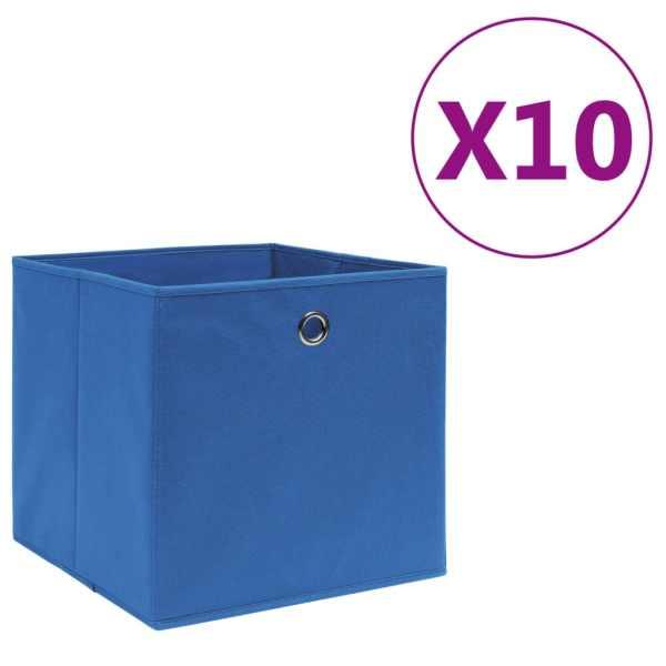vidaXL Cutii depozitare 10 buc. albastru 28x28x28 cm material nețesut
