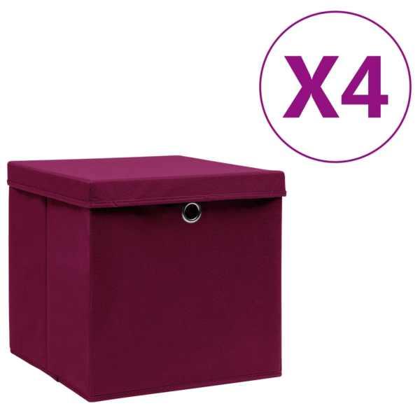 vidaXL Cutii depozitare cu capac, 4 buc., roșu închis, 28x28x28 cm