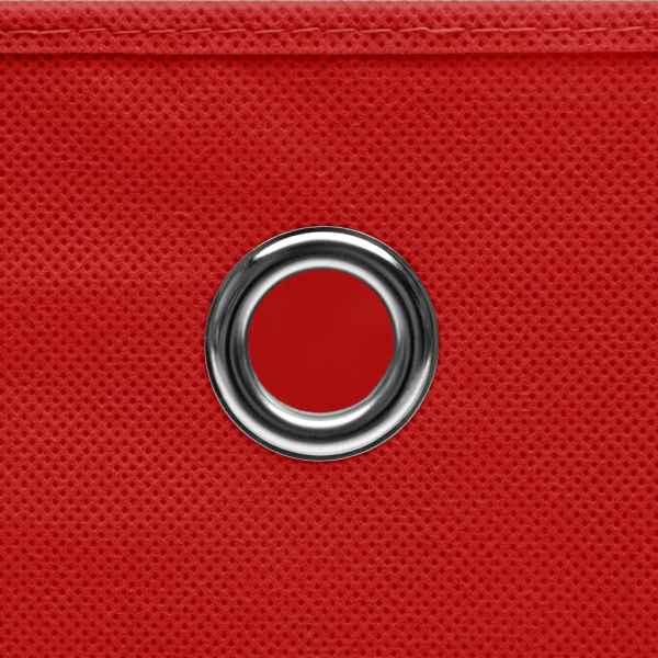 Cutii depozitare cu capac, 4 buc., roșu, 28x28x28 cm