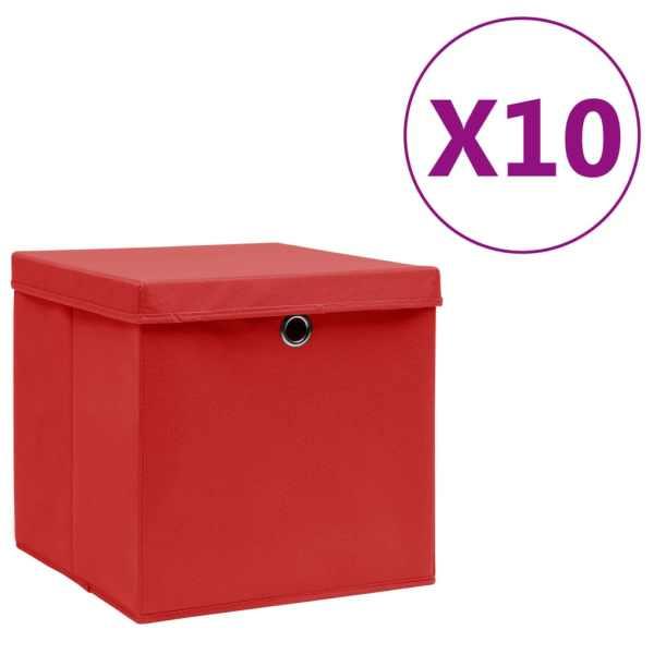 vidaXL Cutii de depozitare cu capac, 10 buc., roșu, 28x28x28 cm