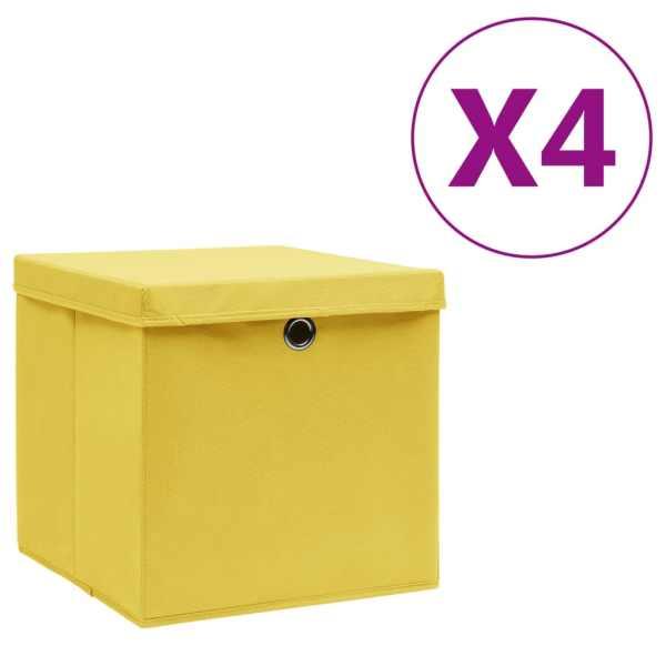 vidaXL Cutii depozitare cu capac, 4 buc., galben, 28x28x28 cm