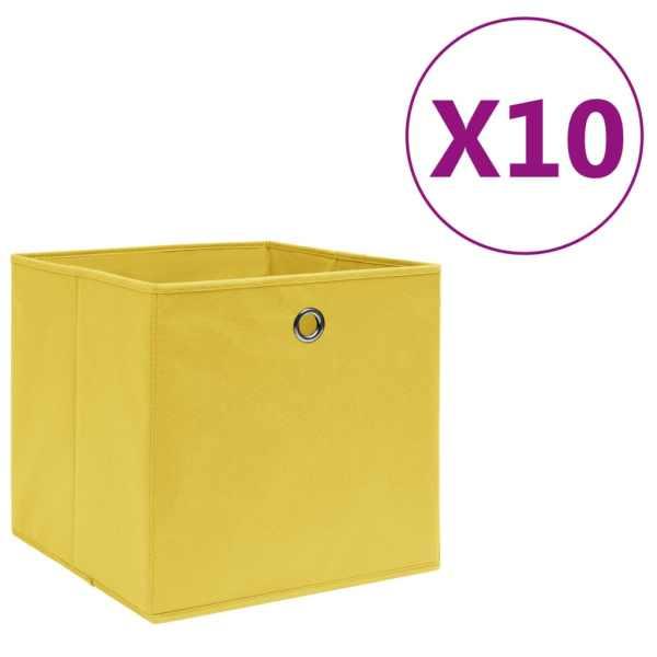 vidaXL Cutii depozitare, 10 buc., galben, 28x28x28cm, material nețesut