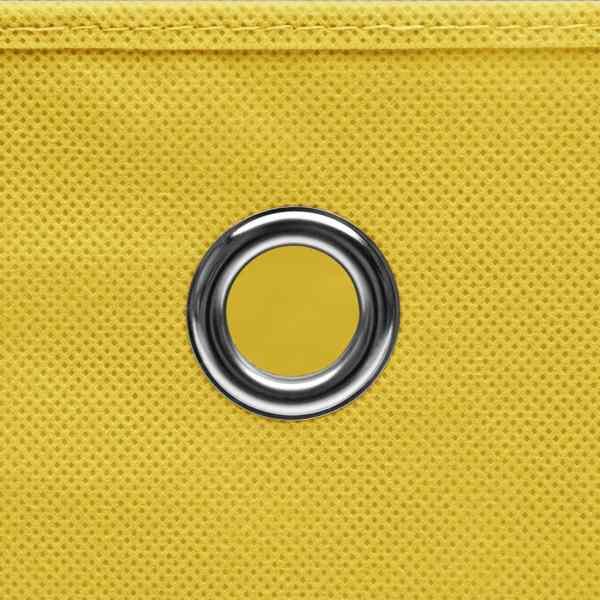 Cutii de depozitare cu capac, 10 buc., galben, 28x28x28 cm