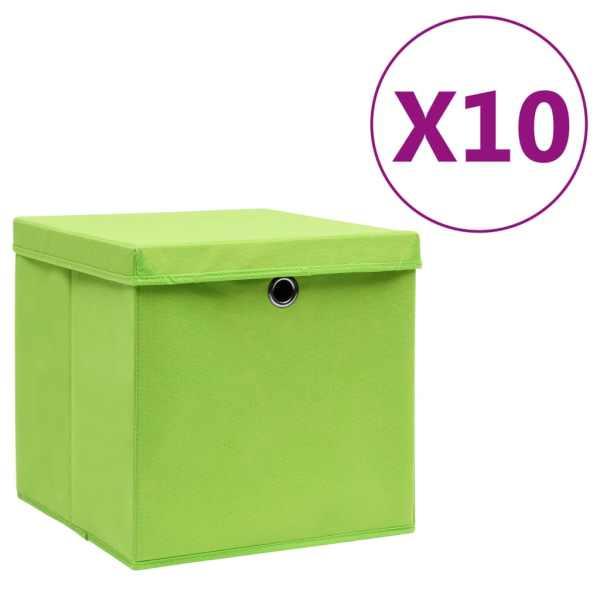 vidaXL Cutii de depozitare cu capac, 10 buc., verde, 28x28x28 cm