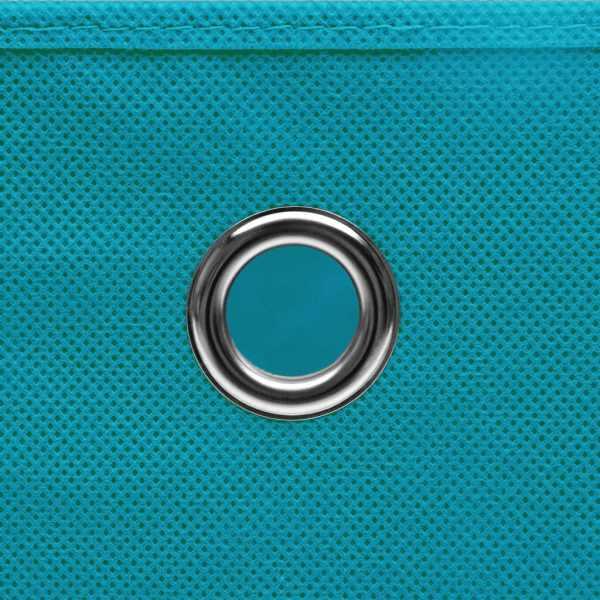 Cutii de depozitare cu capac, 4 buc., bleu, 28x28x28 cm