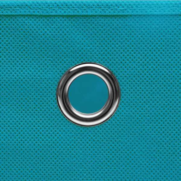 Cutii depozitare, 10 buc., bleu, 28x28x28 cm, material nețesut
