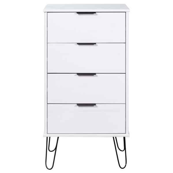 Comodă cu sertare, alb, 45×39,5×90,3 cm, lemn masiv de pin