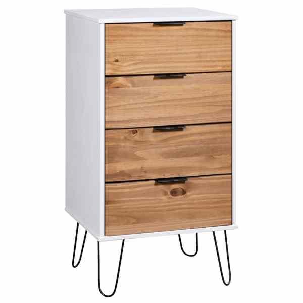 vidaXL Comodă sertare, lemn deschis și alb, 45×39,5×90,3, lemn pin