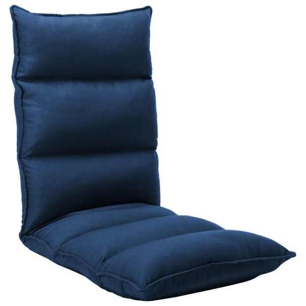 vidaXL Scaun de podea pliabil, albastru, material textil