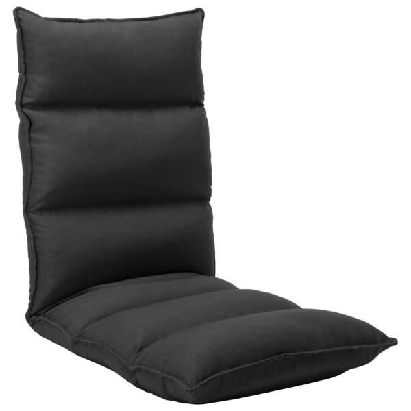 vidaXL Scaun de podea pliabil, negru, material textil