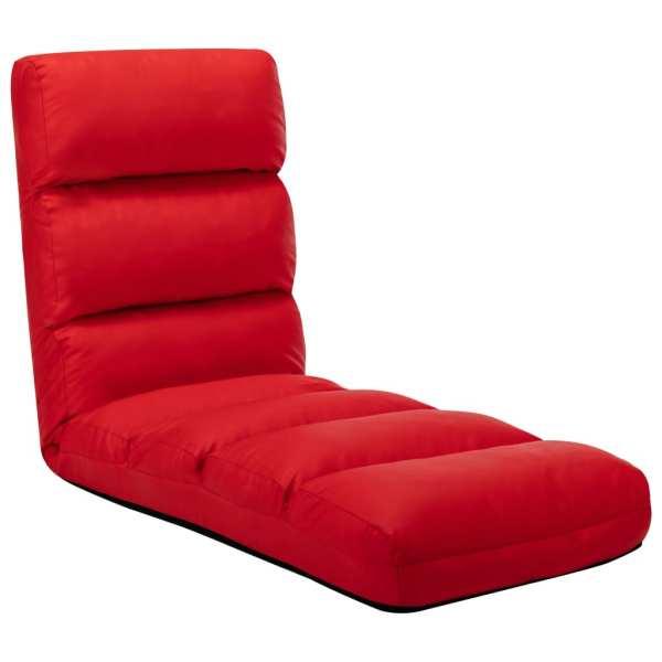 vidaXL Scaun de podea pliabil, roșu, piele ecologică