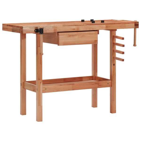 vidaXL Banc de lucru tâmplărie cu sertar, 2 menghine, lemn esență tare
