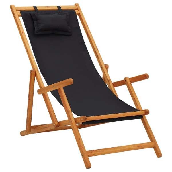 vidaXL Scaun de plajă pliabil, negru, lemn masiv de eucalipt, textil