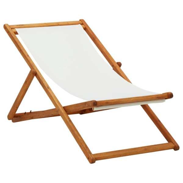 vidaXL Scaun de plajă pliabil, alb crem, lemn de eucalipt & țesătură
