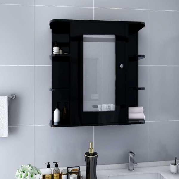 vidaXL Dulap de baie cu oglindă, negru, 66 x 17 x 63 cm, MDF