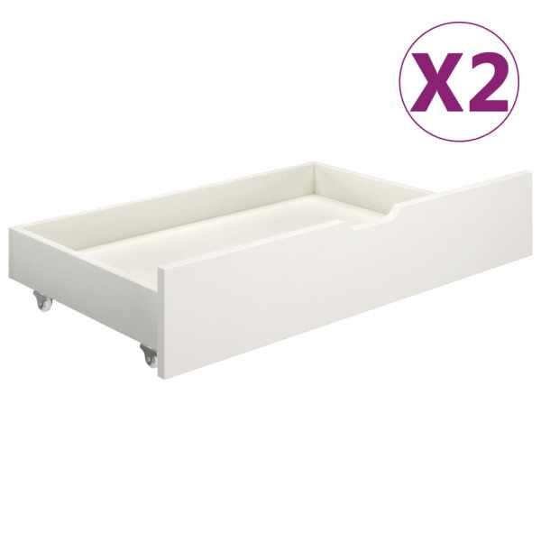 vidaXL Sertare pentru pat, 2 buc., alb, lemn masiv de pin