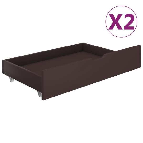 vidaXL Sertare de pat, 2 buc., maro închis, lemn masiv de pin