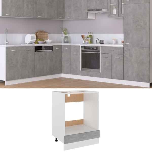 vidaXL Dulap pentru cuptor, gri beton, 60 x 46 x 81,5 cm, PAL