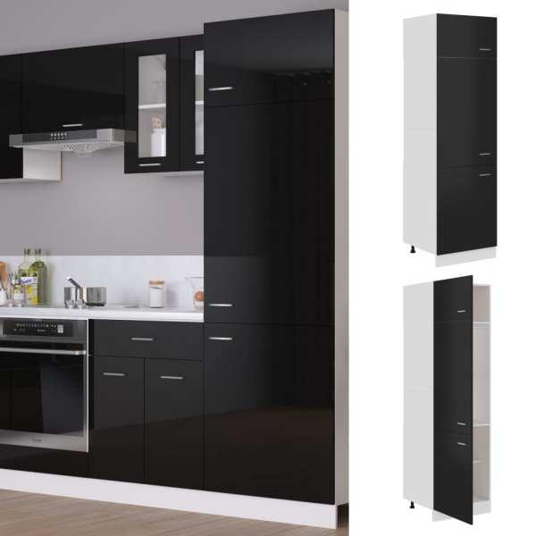 vidaXL Dulap pentru frigider, negru extralucios, 60 x 57 x 207 cm, PAL