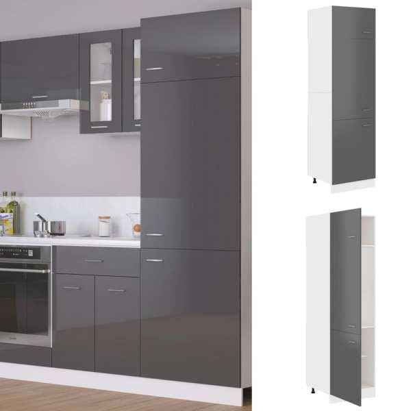 vidaXL Dulap pentru frigider, gri extralucios, 60 x 57 x 207 cm, PAL