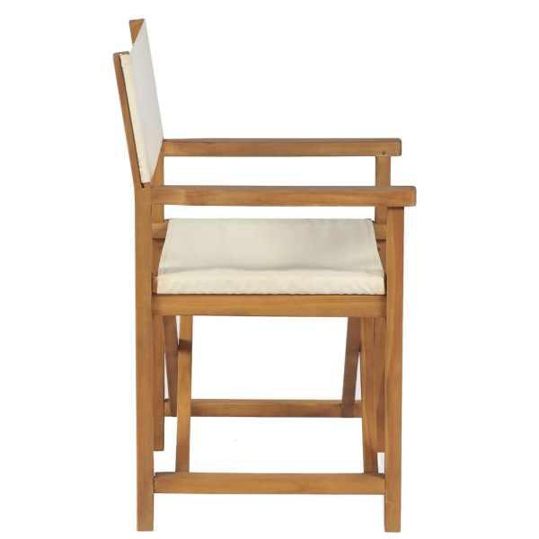 Scaun de regizor pliabil, alb crem, lemn masiv de tec