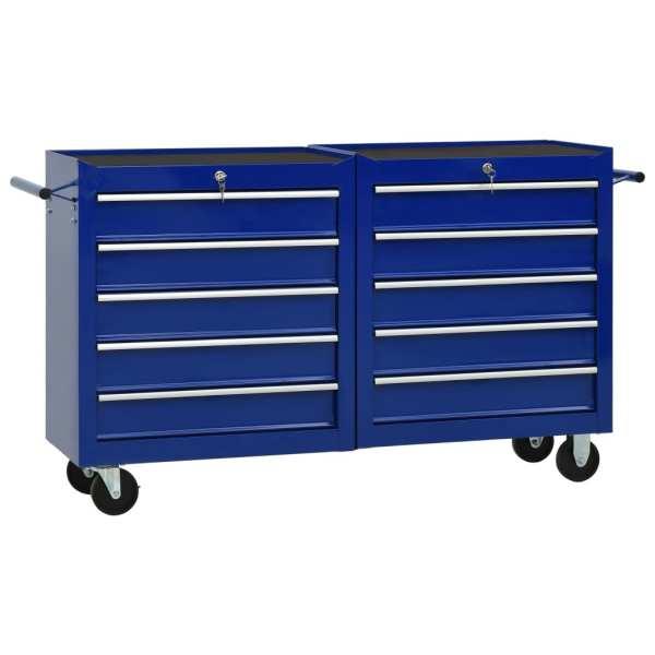 vidaXL Cărucior de scule cu 10 sertare, albastru, oțel