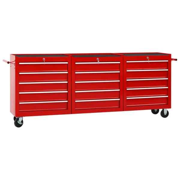 vidaXL Cărucior de scule cu 15 sertare, roșu, oțel