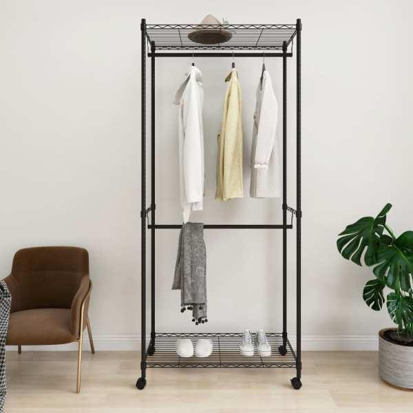 vidaXL Cuier de haine cu roți, 2 niveluri, negru, 90x45x198 cm, 100 kg